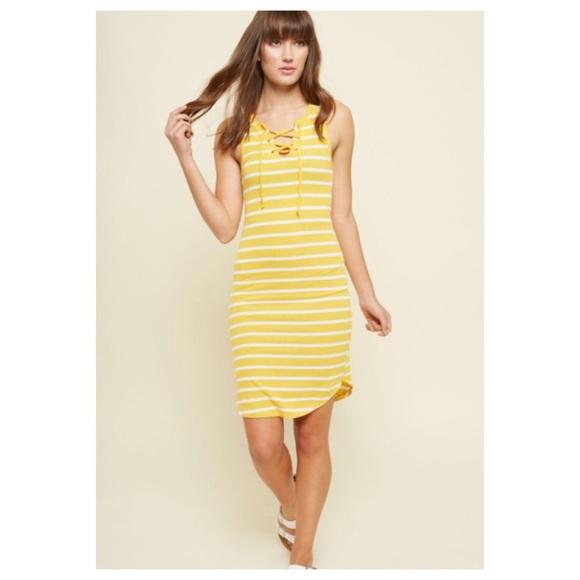 5ad40b71013 Rue21 Striped Lace Up Ribbed Knit Dress XXS